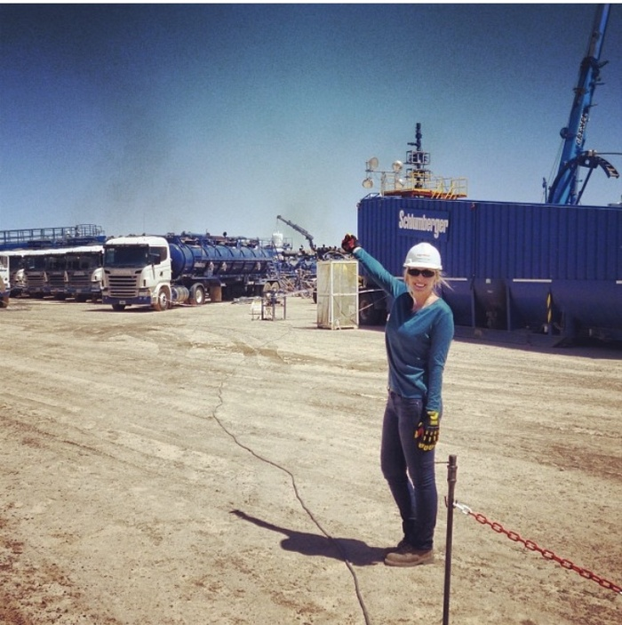 "Zumwalt-Forbes at ExxonMobile's first ""unconventional frac"" in Argentina in 2014, for which Zumwalt-Forbes was the lead engineer."