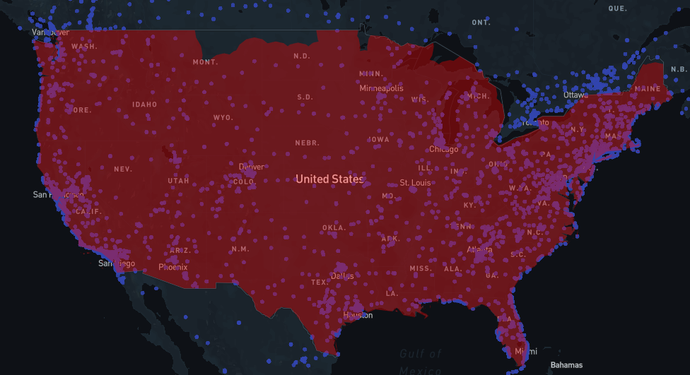 Tesla 100 miles radius